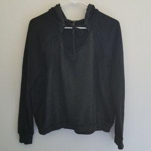 Free People Cocheted Hooded Sweatshirt Size XS